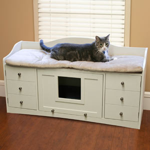 Cat Bench Bed Cabinet And Litter Box Coolkittycondos